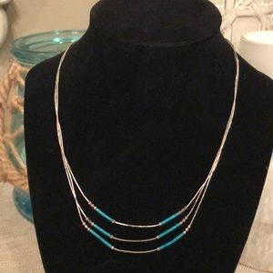 Jewelry - Vintage Liquid Silver & Turquoise Beads Necklace